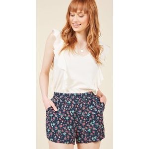 ModCloth Exceedingly Pleasing Shorts Navy Floral